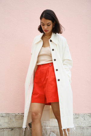White Denim Trench Coat