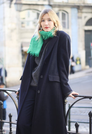 Androdynous Wool Navy Coat