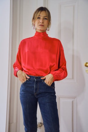80s Red Silky Blouse