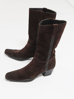 PRADA Seude Chocolate Brown Boots