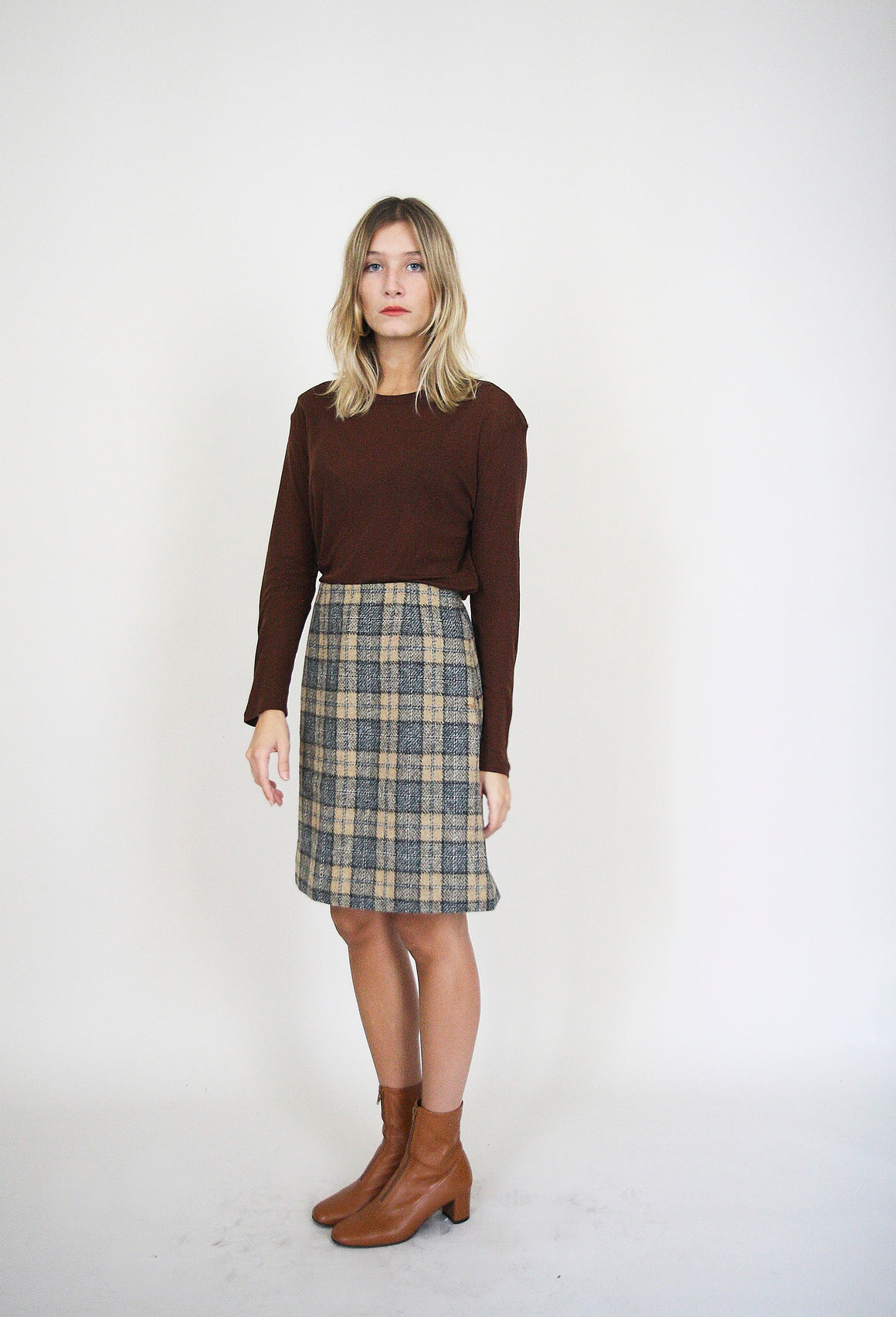 Pretty Wool Checked Skirt