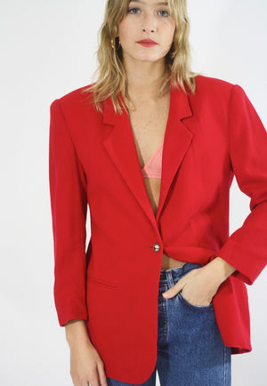 Block Red Wool Blazer