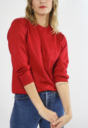 Berry Red Fine Knit Jumper