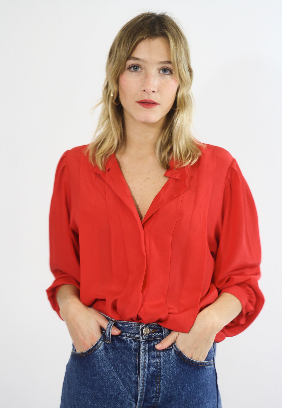 Silky Red Button Up Blouse