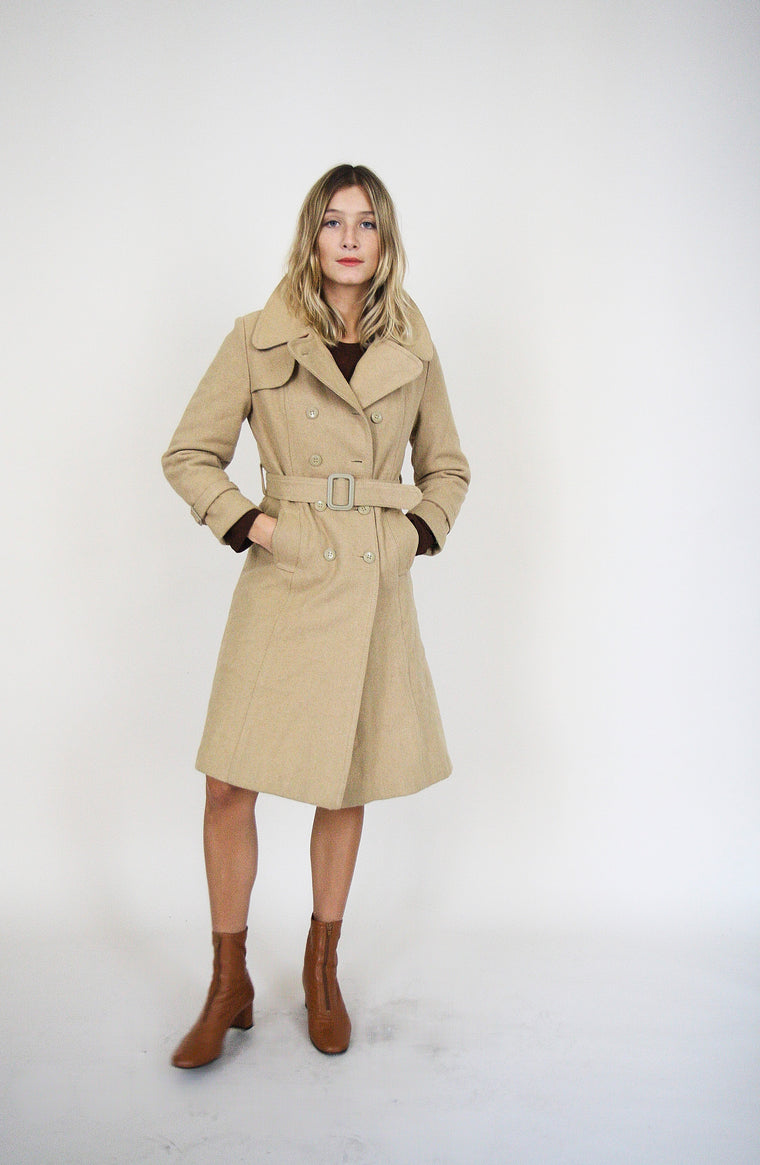 70s Wool Cream Trench Coat