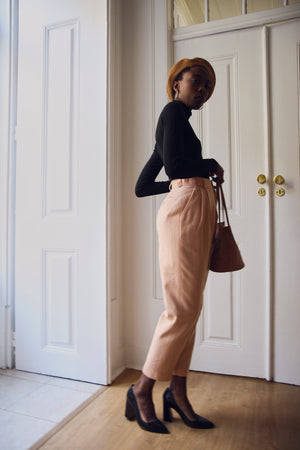 Pale peach Tapered Wool Trousers