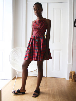 90s Checked Red Skater Dress