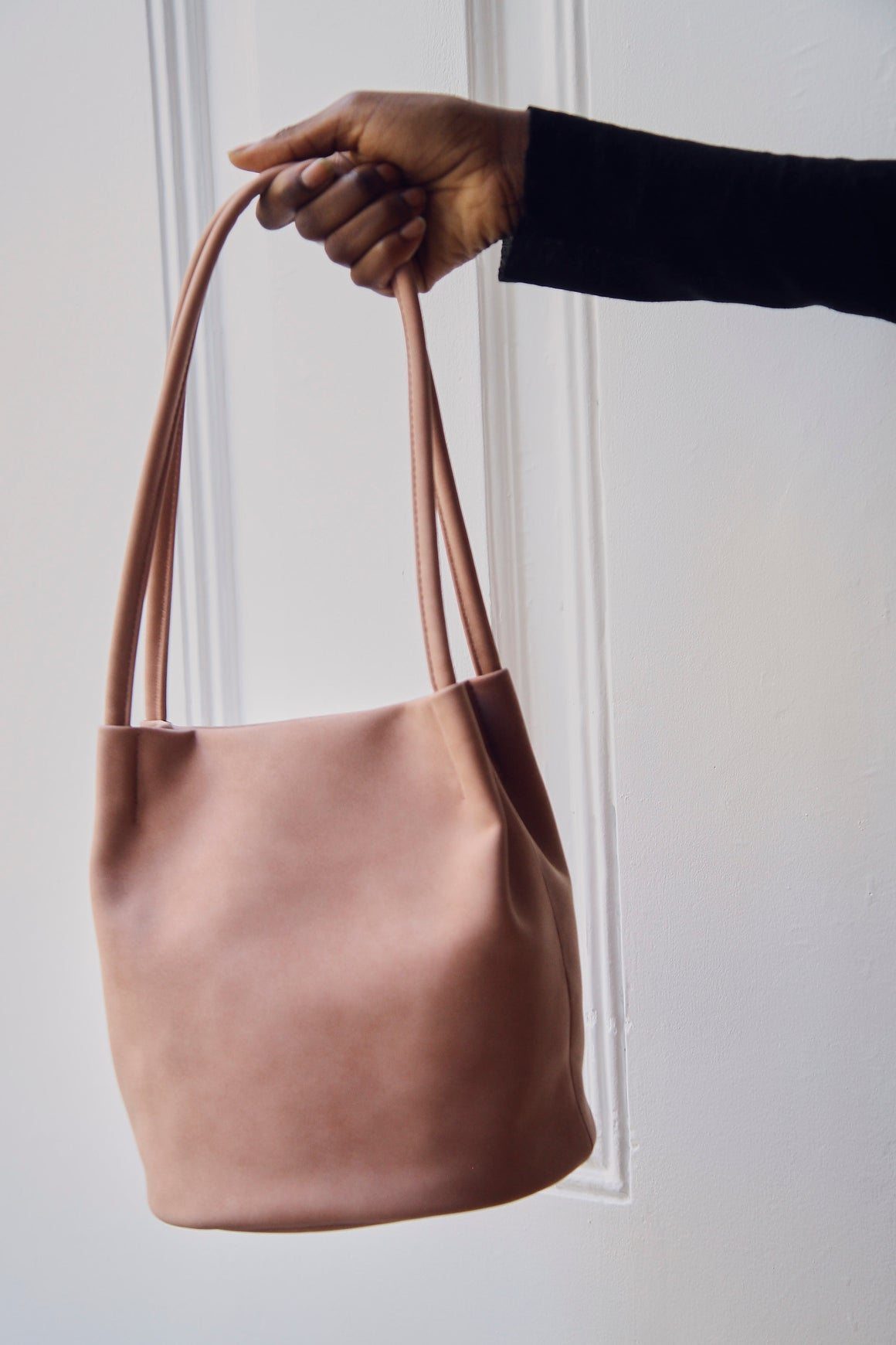 Pink Peach Skin Bucket Bag