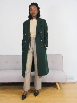 Olive Green Wool Double Breasted Coat