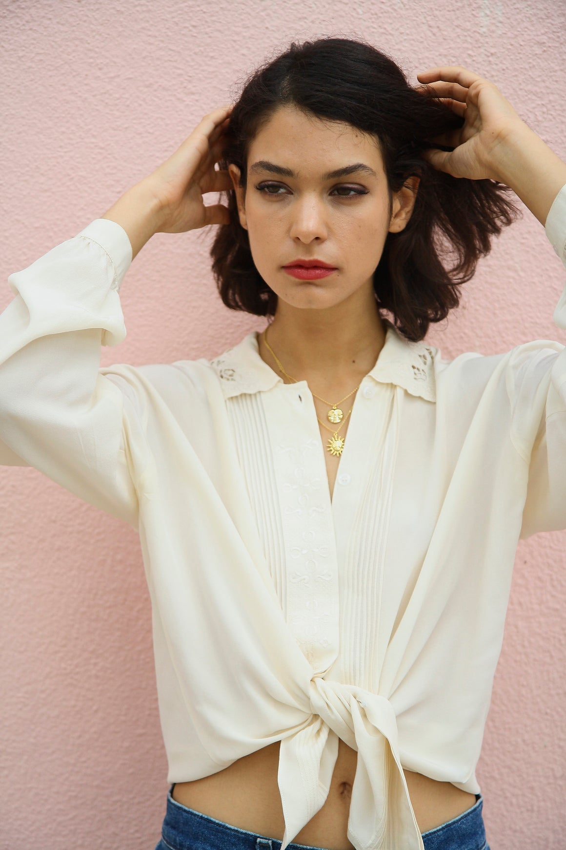 Vintage 70s Silk Blouse Off White