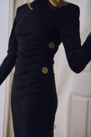 80s Black Body Con Dress