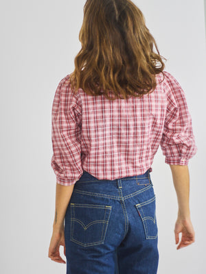 Checked Ruffle Front Blouse
