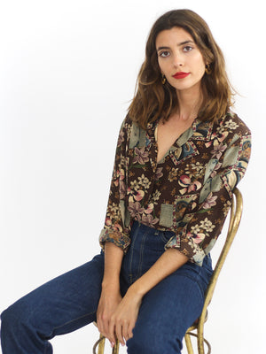 Silk Printed Button Up Blouse
