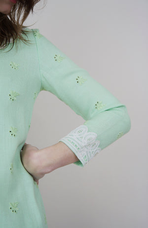 70s French Lace Embroidered Detail Dress