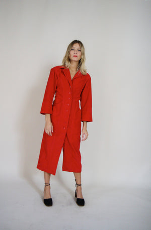 70s Bright Red Corduroy Shirt Dress