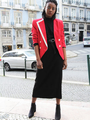 Red 80s Asymmetrical Blazer