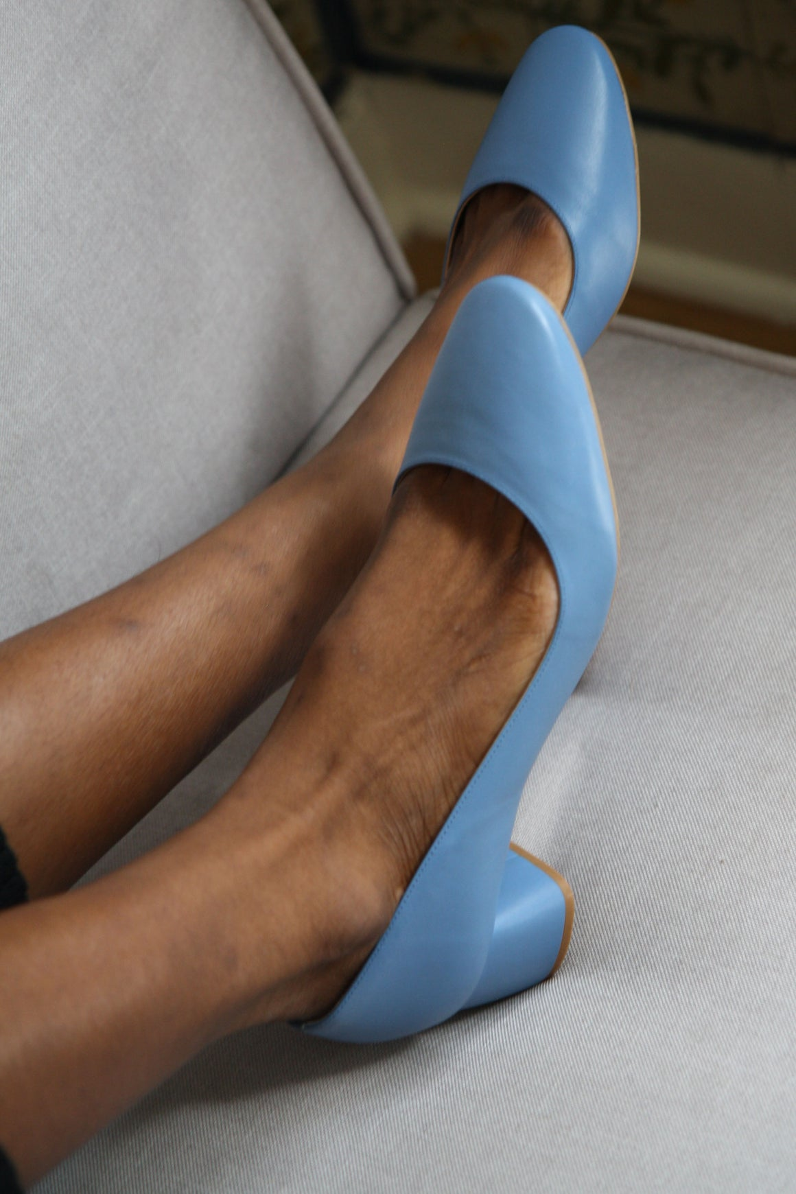 Jeanne Blue Round Toe Pumps