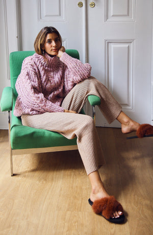 Jaime Pink Speckled Cable Knit