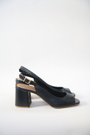 Louise Black Leather Slingback