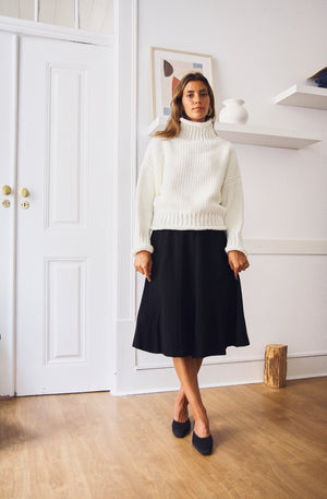 Black Wool  Swing Skirt