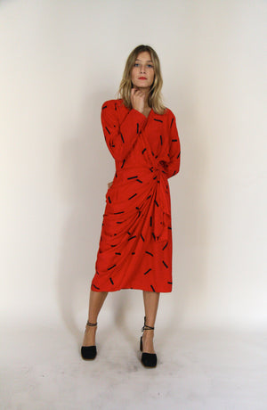 80s Ruby Red Printed Dress