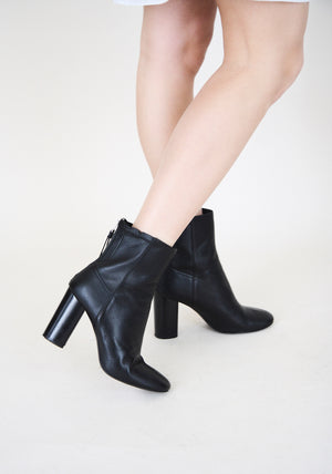 All Saint Black Leather Block Heeled Boots