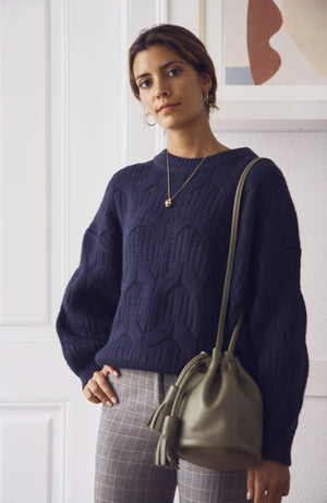 Kamila Navy Crew Neck Chunky Knit