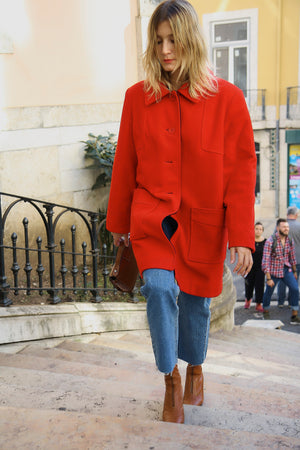 Tomato Red Boxy Wool Tailored Coat