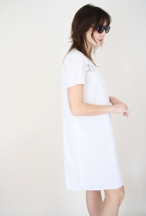 White Cotton Smock Dress