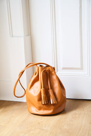 Large Chunky Tassel Leather Bucket Bag