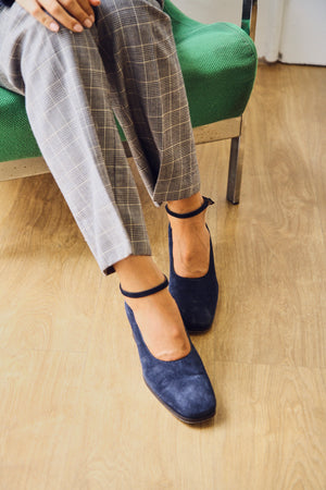 Suede Navy Long Toe Mary-Janes