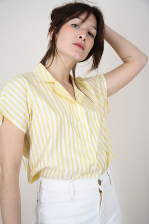 White and Yellow Striped Blouse