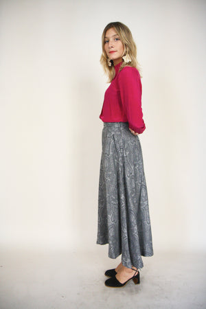 70s High Waisted Wool Skirt