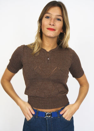 70s Pretty Fine Knit Top