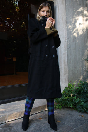 Black Leather Wool Long Line Coat