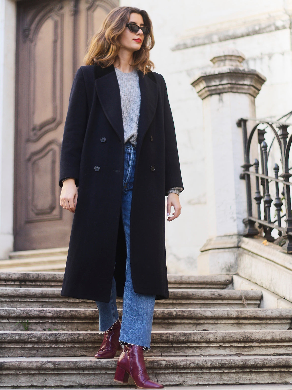 Velvet Collar Navy Wool  Coat