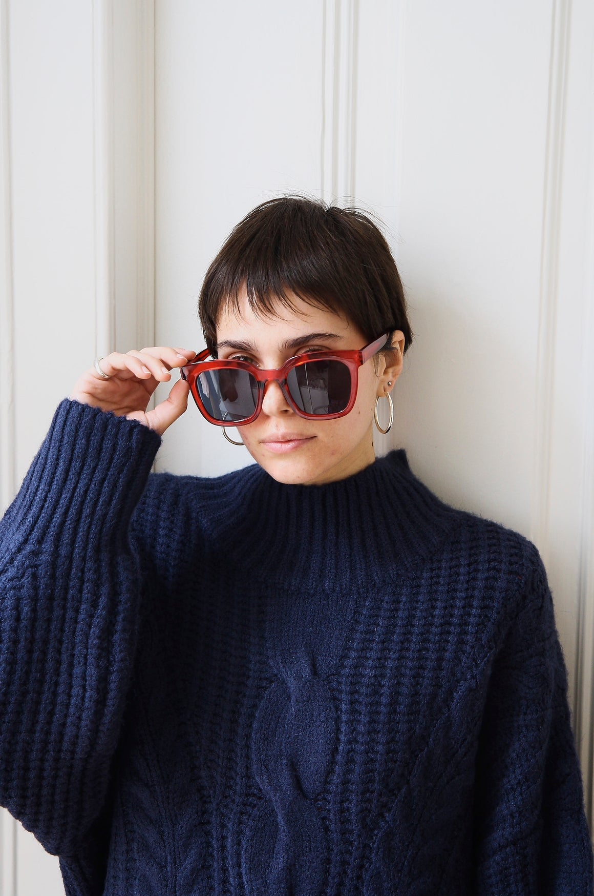 Red Large Square Sunglasses