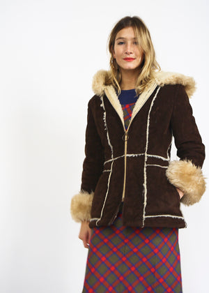 70s Sheepskin Hooded Coat