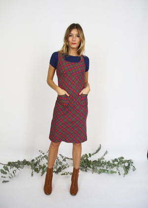 Wool Mix Checked Pinafore Dress