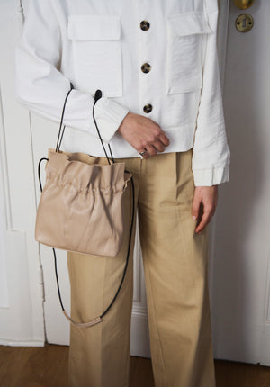 Beige Drawstring Mini Tote