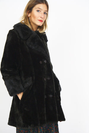 60s Black Faux Fur Swing Coat