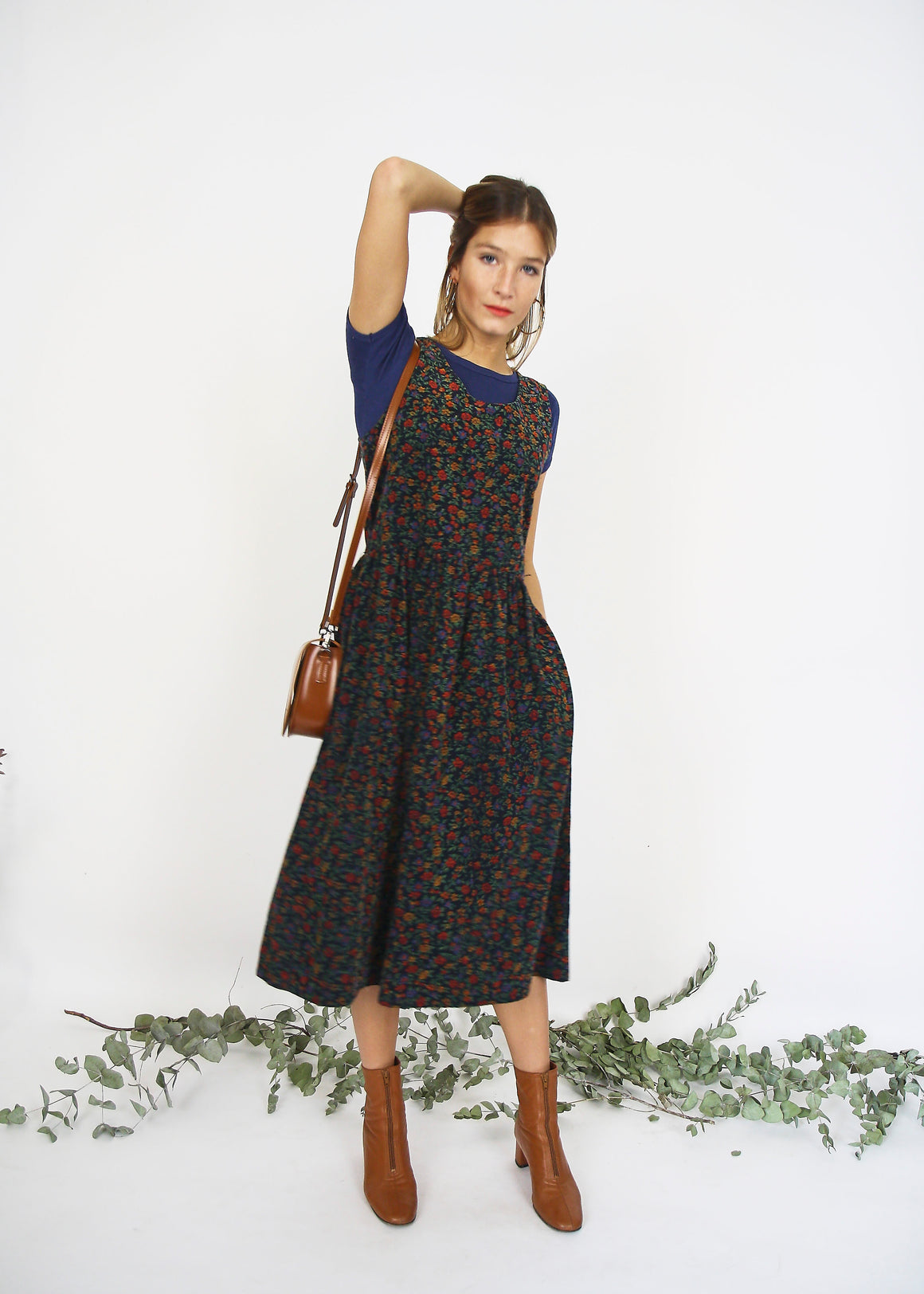 Printed Floral Corduroy Pinafore Dress