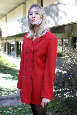 Red Tailored Wool Blazer