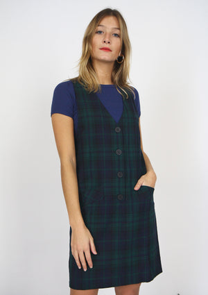 Navy and Green Check Pinafore Dress