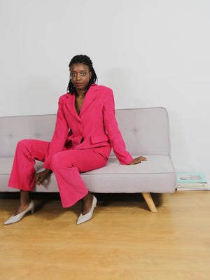 Bright Pink Corduroy Suit