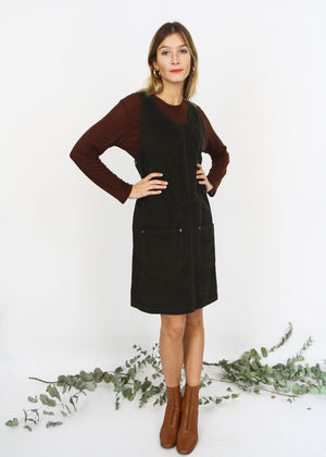 Dark Brown Corduroy Pinafore Dress