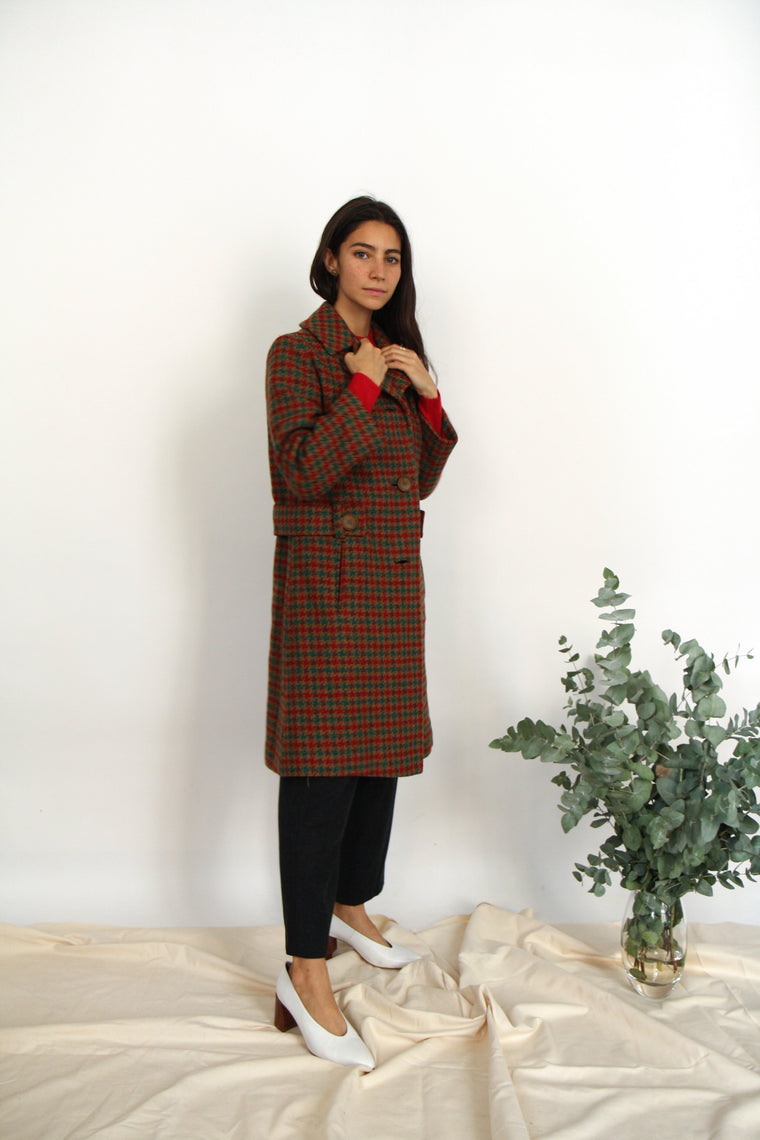 60s Wool Houndstooth Coat