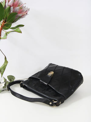 Black Leather Bucket Handbag