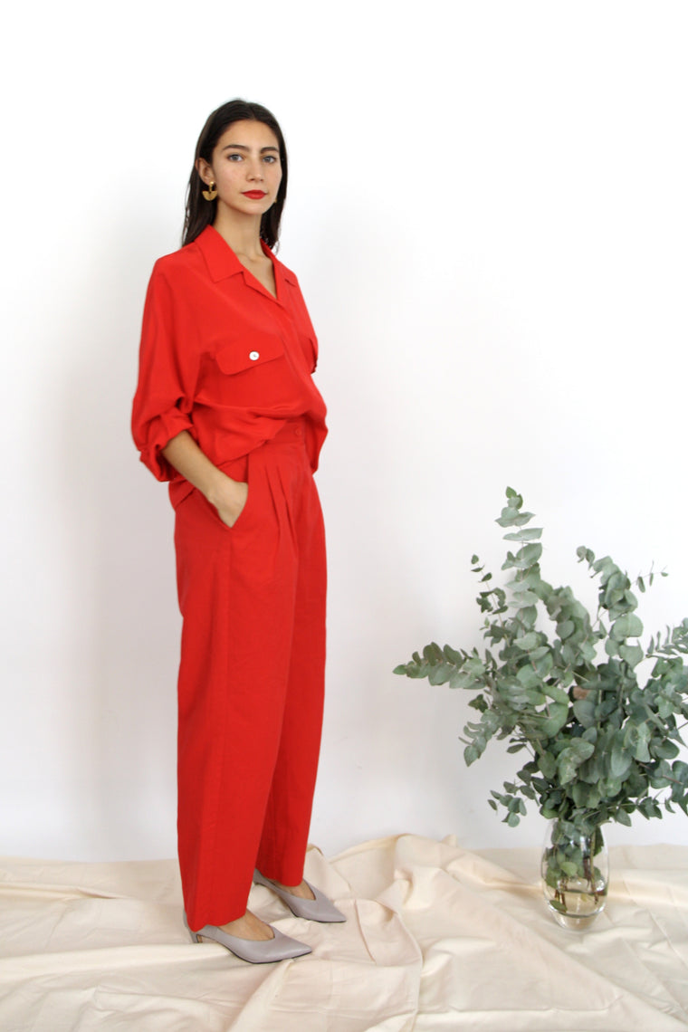 Tomato Red Silk Blouse