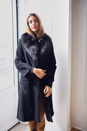 Black Calf Wool and Fox Fur Coat
